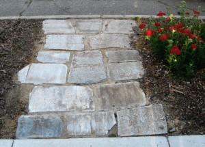 tumbled champagne stone walkway
