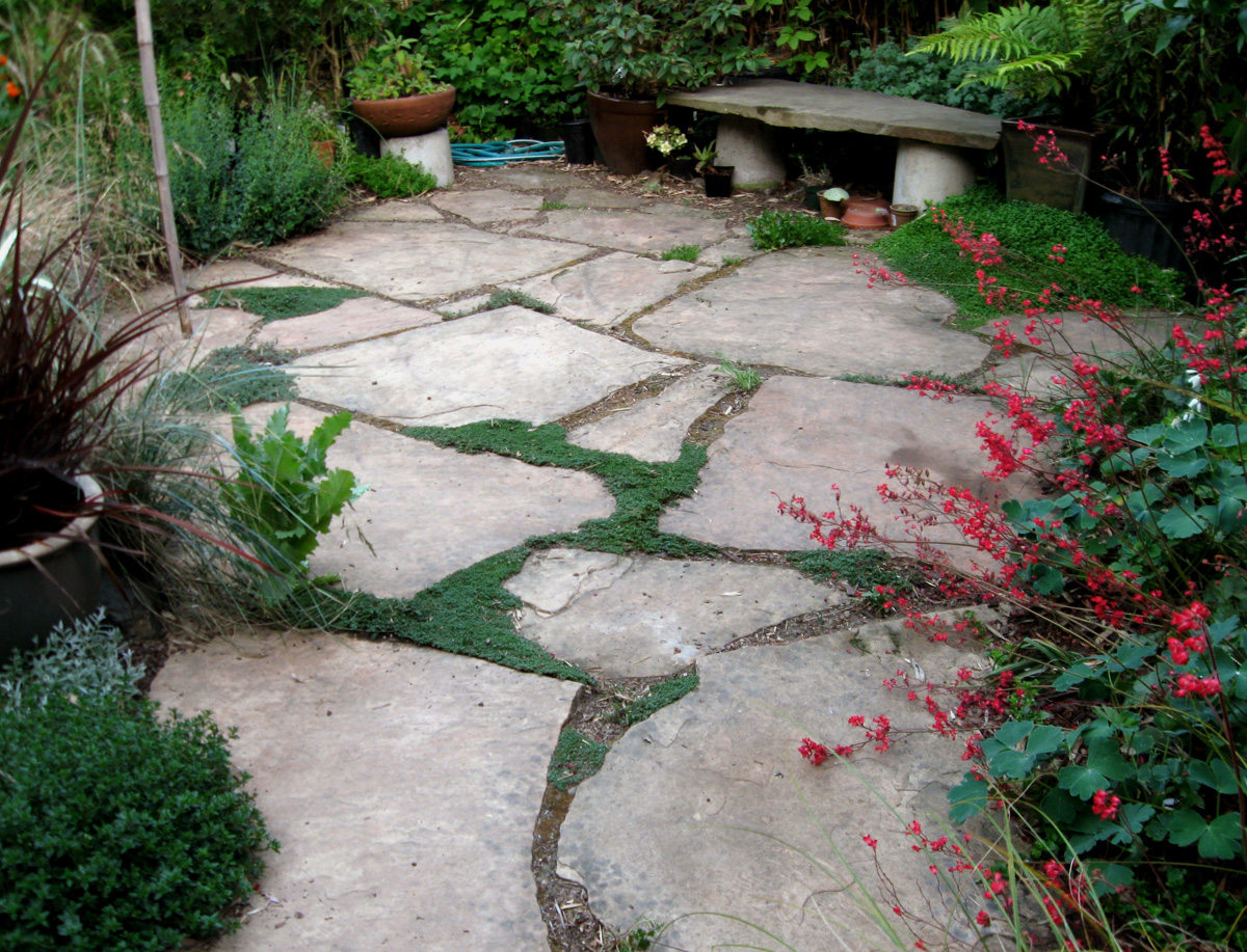 Drystonegarden arizona flagstone for Pictures of stone patios